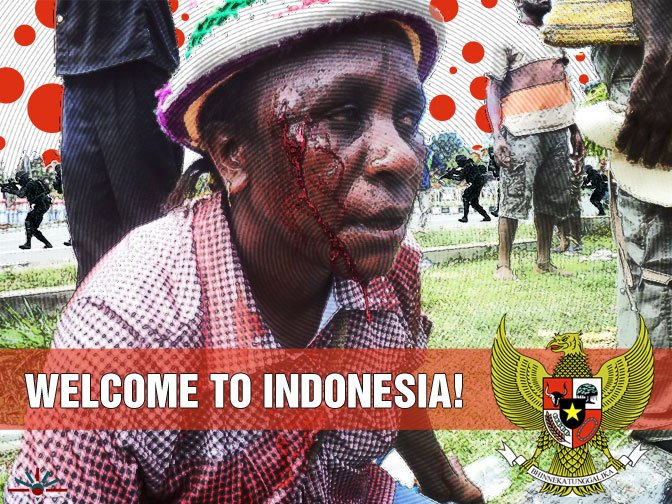 Police brutally beat woman at Nabire, West Papua, protests