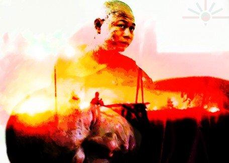 Burma_mine_monk_protest_1