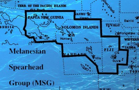 The Melanesian Spearhead Group (MSG) is an intergovernmental organization, composed of the four Melanesian states of Fiji, Papua New Guinea, Solomon Islands and Vanuatu as well as the FLNKS of New Caledonia.