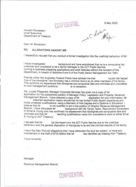 Letter to the ACT Chief Executive